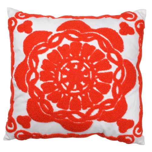 """18"""" White and Red Embroidered Square Throw Pillow - IMAGE 1"""