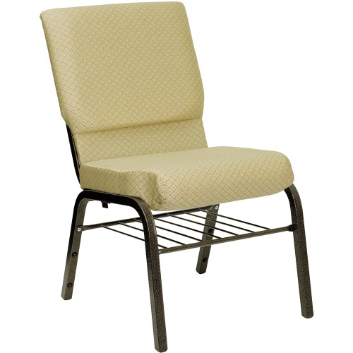 """33"""" Beige and Black Contemporary Church Chair with Book Rack - IMAGE 1"""