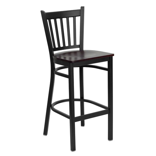 "42"" Black and Red Hercules Series Vertical Back Restaurant Barstool - IMAGE 1"