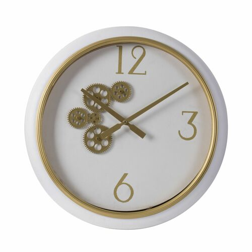 """20.5"""" White and Gold Contemporary Round Gear Wall Clock - IMAGE 1"""