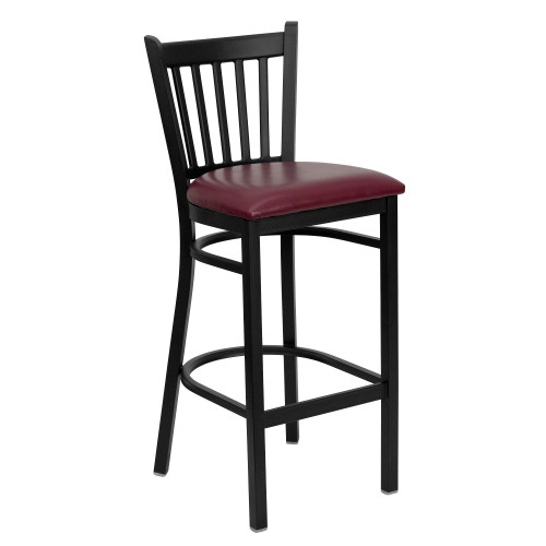 "42"" Black and Burgundy Red Hercules Series Vertical Back Restaurant Barstool - IMAGE 1"