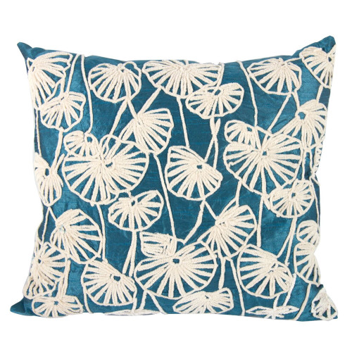 "20"" Blue and White Floral Dupioni Embroidered Rectangular Throw Pillow - IMAGE 1"