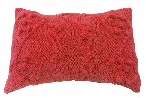 """20"""" Red Classic Cable knit Rectangular Throw Pillow - IMAGE 1"""