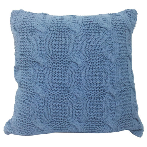 """18"""" Sky Blue Classic Cable Knit Square Throw Pillow - IMAGE 1"""