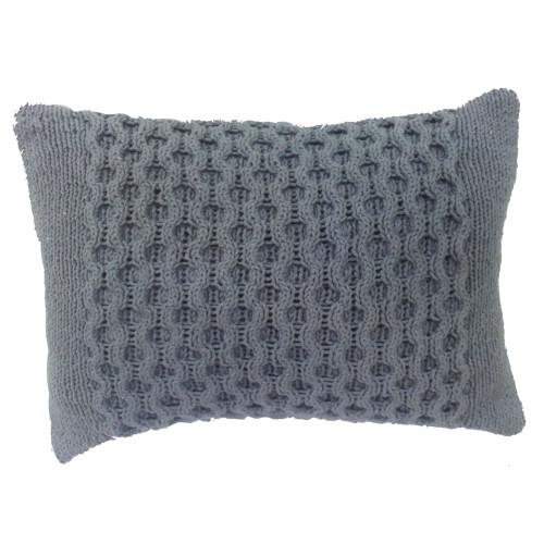 """20"""" Gray Honeycomb Cable Knit Rectangular Throw Pillow - IMAGE 1"""