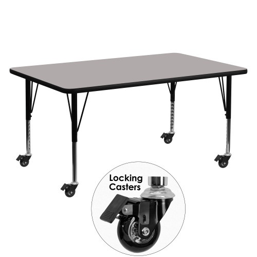 """60"""" Gray Rectangular Activity Table with Height Adjustable Short Legs - IMAGE 1"""