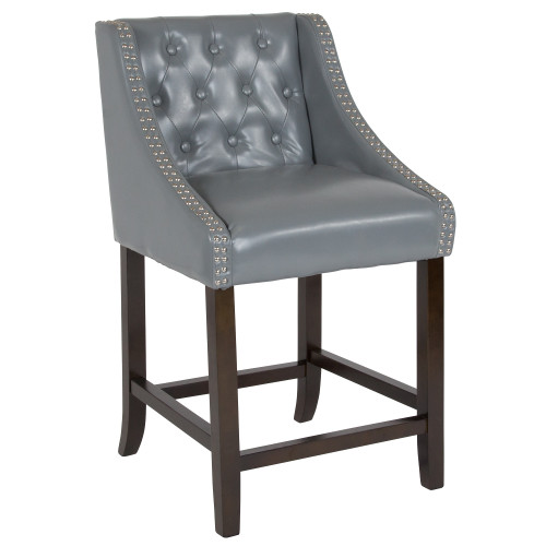 "36"" Gray and Brown Button Tufted Full Back Bar Stool - IMAGE 1"