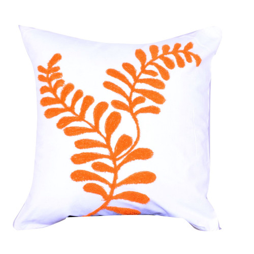 """18"""" White and Orange Embroidered Square Throw Pillow - IMAGE 1"""