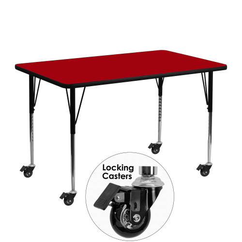 """48"""" Red Rectangular Thermal Activity Table with Standard Height Adjustable Legs - IMAGE 1"""