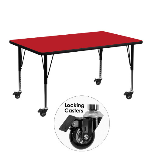 """48"""" Red Rectangular Activity Table with Height Adjustable Short Legs - IMAGE 1"""