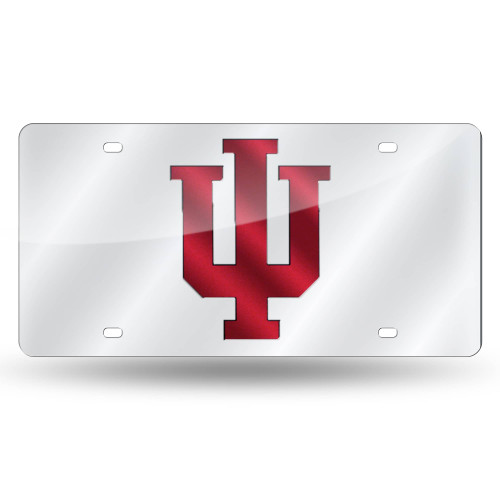 """6"""" x 12"""" Silver Colored and Red College Indiana Hoosiers Tag - IMAGE 1"""