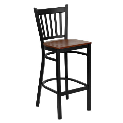 "42"" Black and Cherry Red Hercules Series Vertical Back Restaurant Barstool - IMAGE 1"
