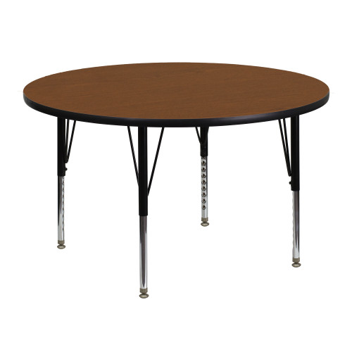 48'' Oak Brown and Gray Contemporary Round Activity Table with Height Adjustable Short Legs - IMAGE 1