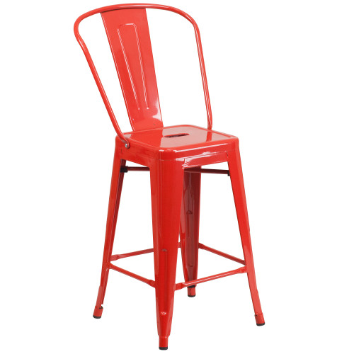 """39.25"""" Red Contemporary Outdoor Patio Counter Height Stool with Removable Back - IMAGE 1"""