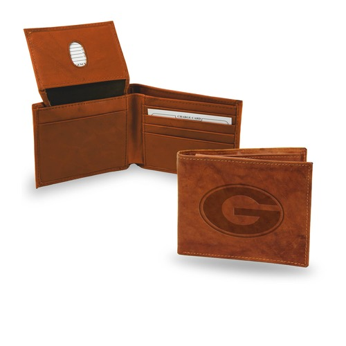 "4"" Brown College Georgia Bulldogs Embossed Billfold Wallet - IMAGE 1"