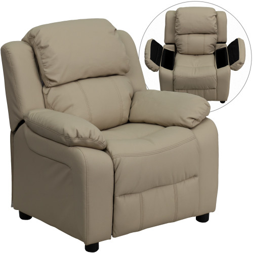 "28"" Beige Deluxe Padded Contemporary Kids Recliner with Storage Arms - IMAGE 1"