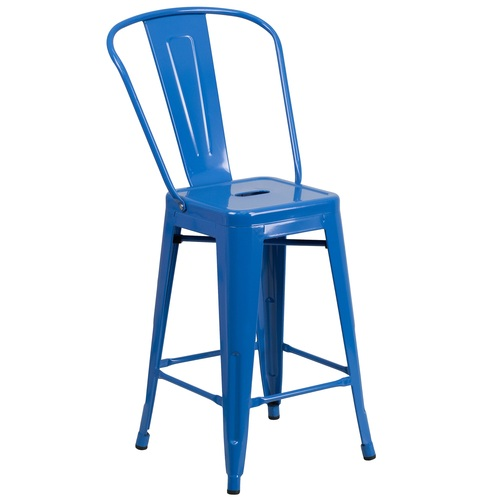 """39.25"""" Blue Contemporary Outdoor Patio Counter Height Stool with Removable Back - IMAGE 1"""