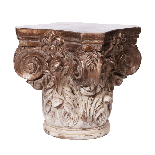 """18"""" Gold and White Traditional Corinthian Cap Pedestal - IMAGE 1"""
