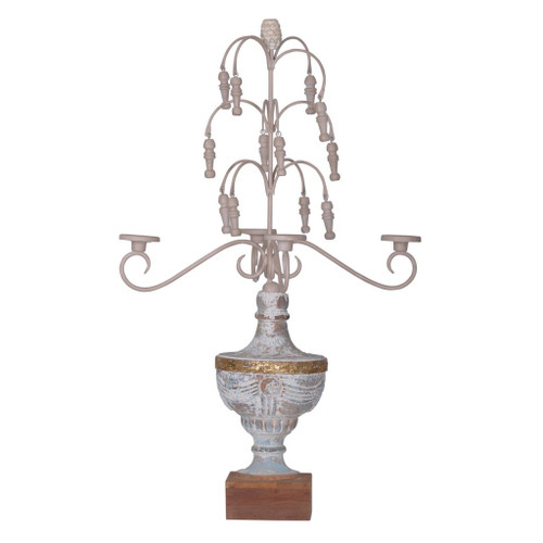 """29.5"""" White and Brown Vintage Style Distressed Finish Candelabra - IMAGE 1"""