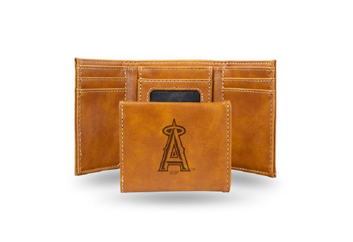 """4"""" Brown MLB Los Angeles Angels Rectangular Trifold Wallet - IMAGE 1"""