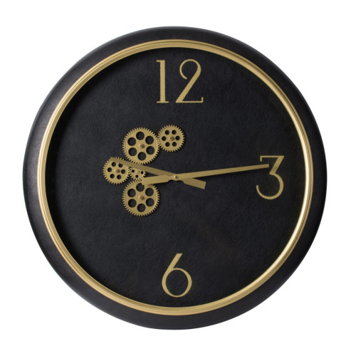 """20.5"""" Black and Gold Contemporary Round Gear Wall Clock - IMAGE 1"""