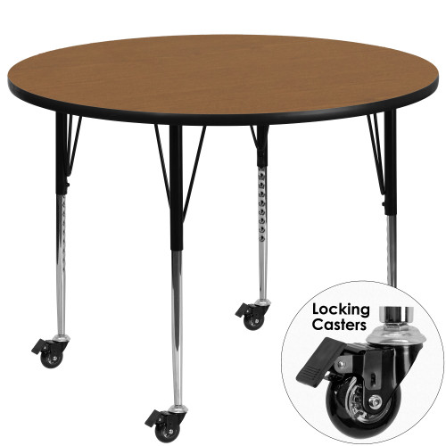 48'' Oak Brown and Black Contemporary Round Activity Table with Height Adjustable Mobile Legs - IMAGE 1