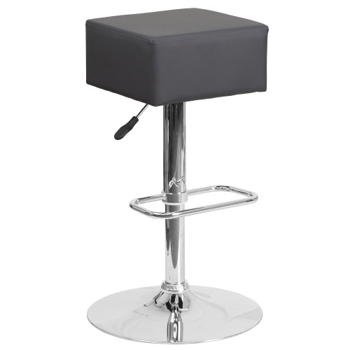 """30.25"""" Gray Adjustable Height Square Seat Barstool - IMAGE 1"""