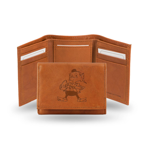 """4"""" Brown NFL Cleveland Browns """"Brownie"""" Embossed Trifold Wallet - IMAGE 1"""
