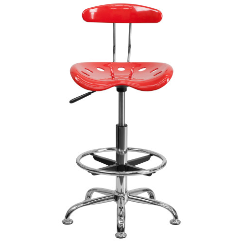 "41"" Cherry Tomato Red and Gray Contemporary Tractor Swivel Seat Drafting Stool with Foot Ring - IMAGE 1"
