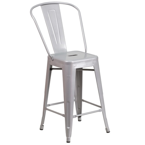 """39.25"""" Silver Contemporary Outdoor Patio Counter Height Stool with Removable Back - IMAGE 1"""