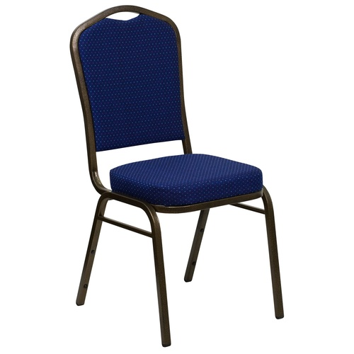 """38"""" Navy Blue and Gold Vein Crown Back Stacking Banquet Chair - IMAGE 1"""
