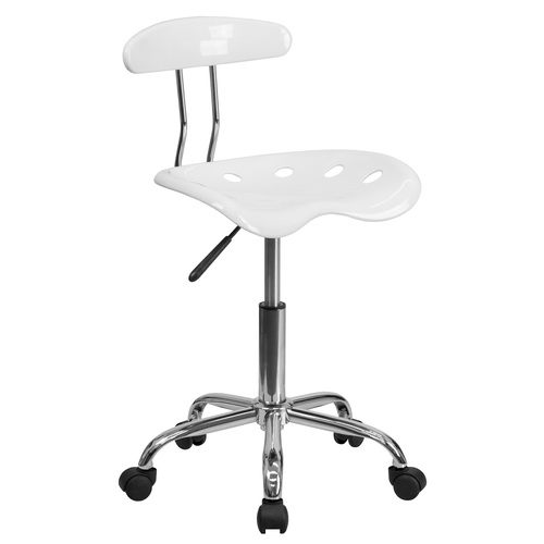 """34.75"""" White and Metallic Gray Swivel Contemporary Task Office Chair with Tractor Seat - IMAGE 1"""