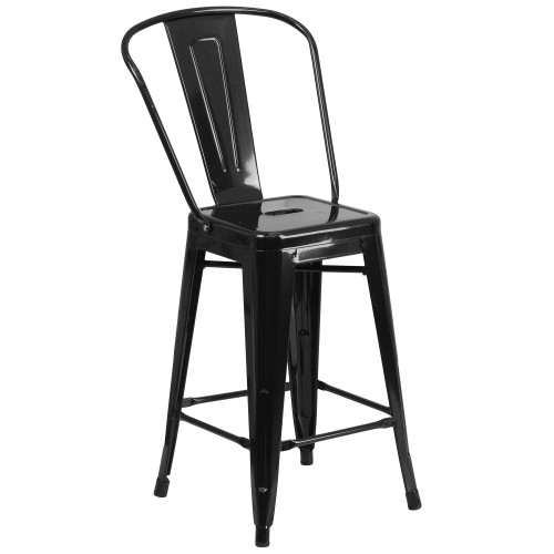 """39.25"""" Black Contemporary Outdoor Patio Counter Height Stool with Removable Back - IMAGE 1"""