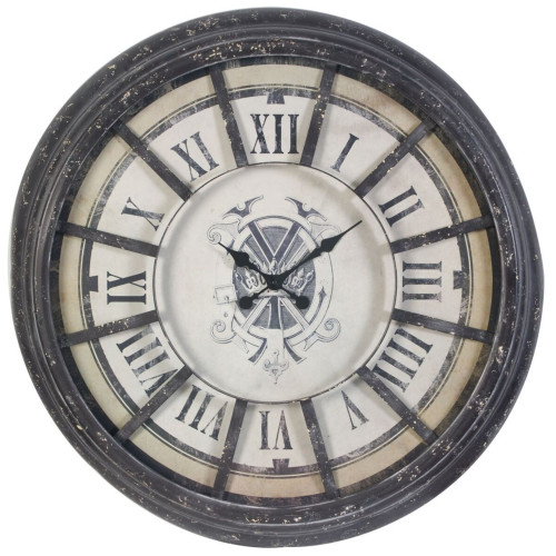 """36.5"""" Brown and Gray Antique Round Wall Clock with Bold Roman Numerals - IMAGE 1"""