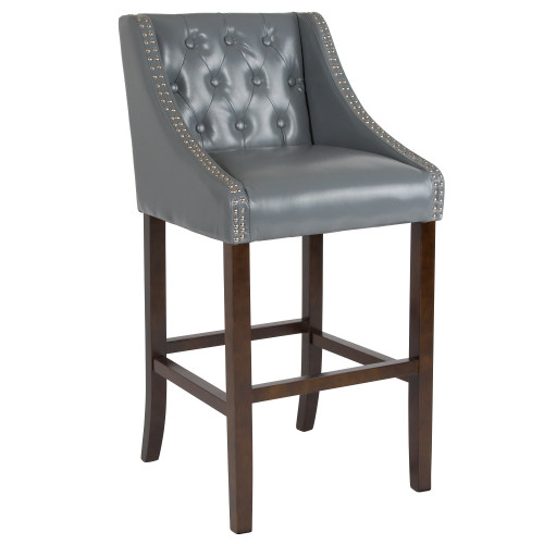 "42"" Gray Leather Button Tufted Full Back Bar Stool - IMAGE 1"
