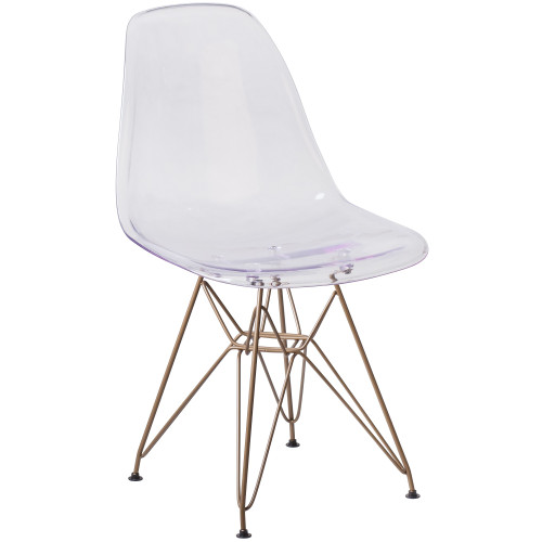 """31.50"""" Clear and Gold Transparent Crystal Finish Chair - IMAGE 1"""