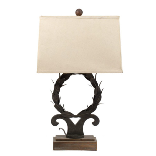 """26"""" Bronze Contemporary Table Lamp with Beige Modified Drum Shade - IMAGE 1"""