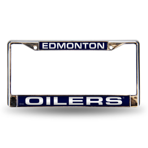 6 x 12 White and Blue NHL Edmonton Oilers Cut License Plate Cover - IMAGE 1