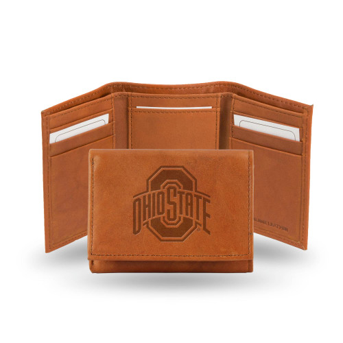 "4"" Brown College Ohio State Buckeyes Embossed Trifold Wallet - IMAGE 1"