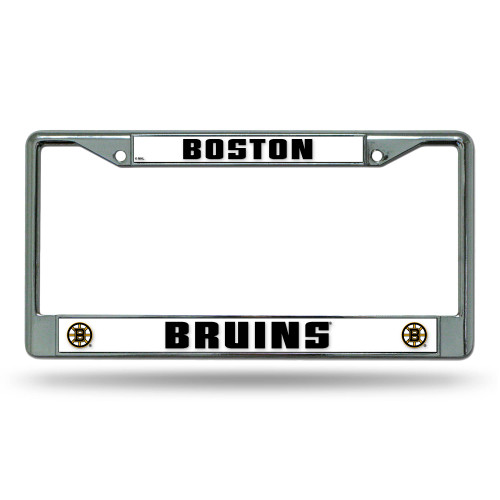 """6"""" x 12"""" Black and White NHL Boston Bruins License Plate Cover - IMAGE 1"""