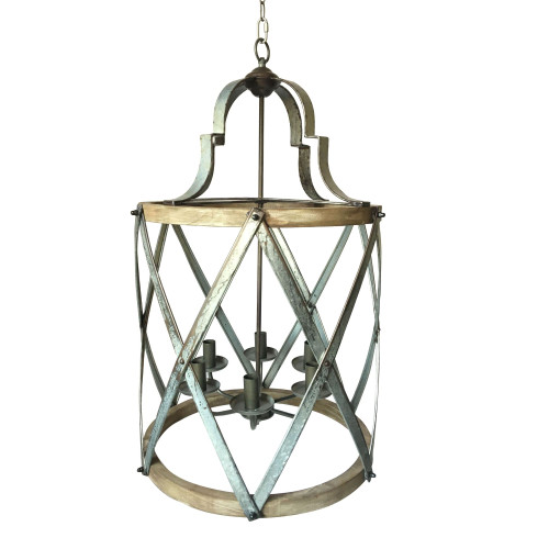 """33.75"""" Silver and Brown Vintage Style Round Chandelier - IMAGE 1"""