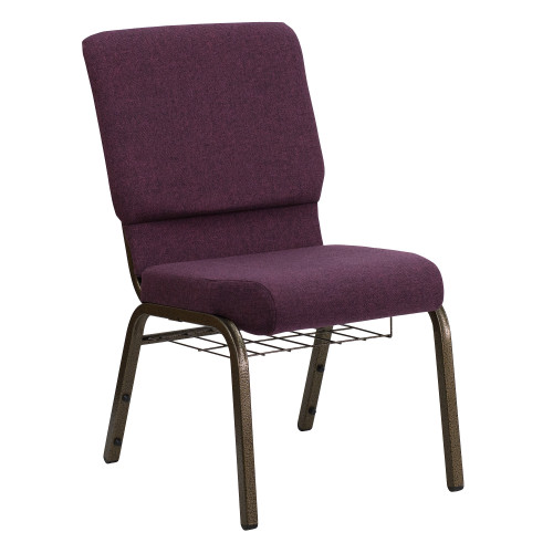 """33.25"""" Purple and Gold Rustic Church Chair - IMAGE 1"""