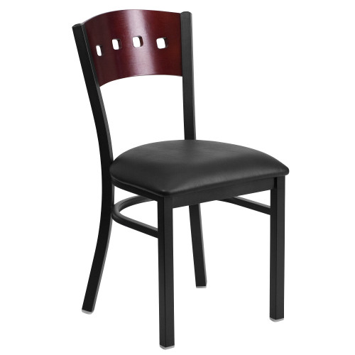 """32"""" Black and Red Four Square Back Restaurant Dining Chair - IMAGE 1"""