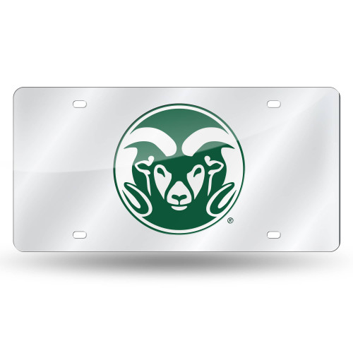 """6"""" x 12"""" Silver Colored and Green College Colorado State Rams Tag - IMAGE 1"""