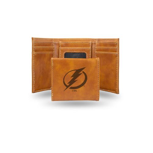 """4"""" Brown NHL Tampa Bay Lightning Rectangular Trifold Wallet - IMAGE 1"""