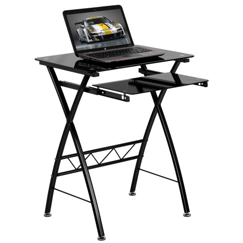 """29.75"""" Black Tempered Glass Computer Desk with Pull-Out Keyboard Tray - IMAGE 1"""