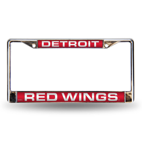 6 x 12 Red and Silver Colored NHL Detroit Red Wings  Cut License Plate Cover - IMAGE 1