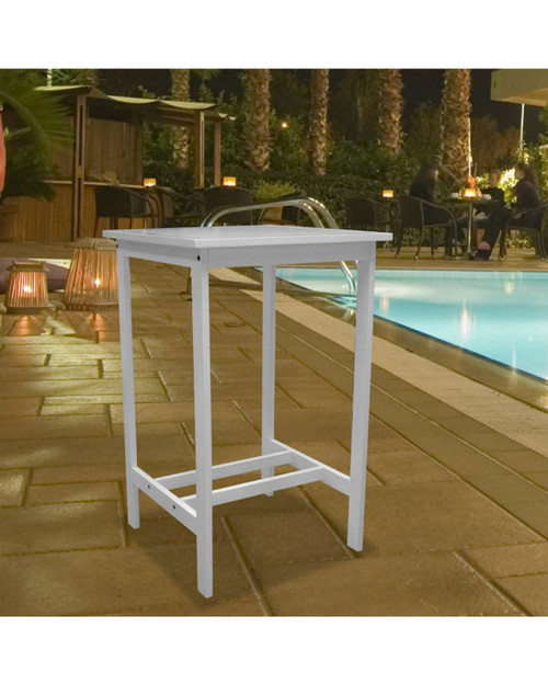 """43"""" White Wood Outdoor Furniture Patio Bar Table - IMAGE 1"""