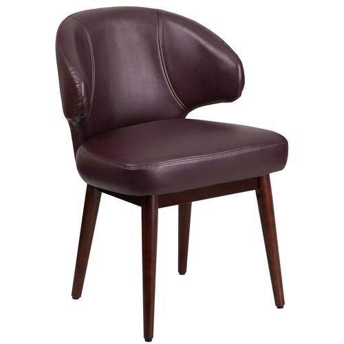 """33.75"""" Burgundy Red and Brown Side Reception Chair - IMAGE 1"""