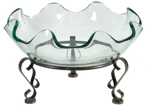 """9"""" Decorative Glass Bowl with Crystal Clear Glass and Metal Stand - IMAGE 1"""